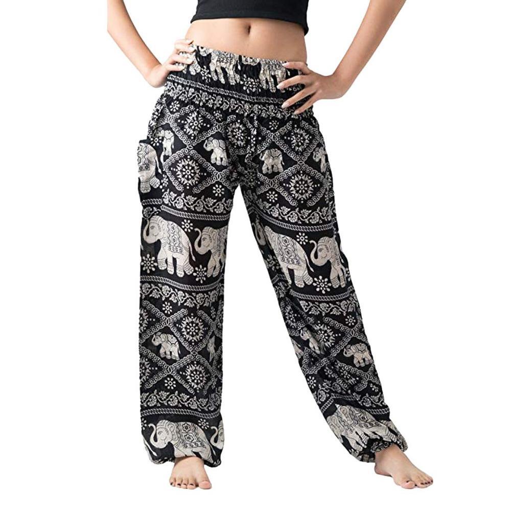 Summer Women's Pants Sports Trousers Women Printed Bohemian Beach Elastic Waist Wide Leg Pants Pantalones Mujer Drop Shipping C