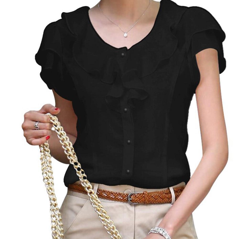 Kinikiss chiffon blouse women 2018 summer new white single-breasted butterfly sleeve black tops fashion office lady blouse shirt