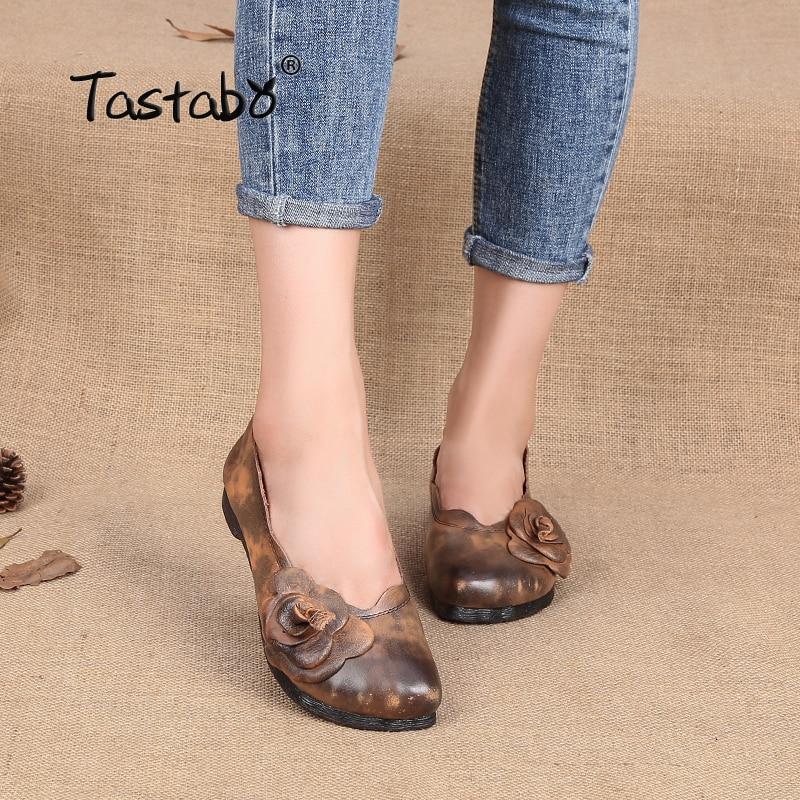 цена на Tastabo Genuine Leather Shoes Women Flats Handmade Soft Casual Shoes Women