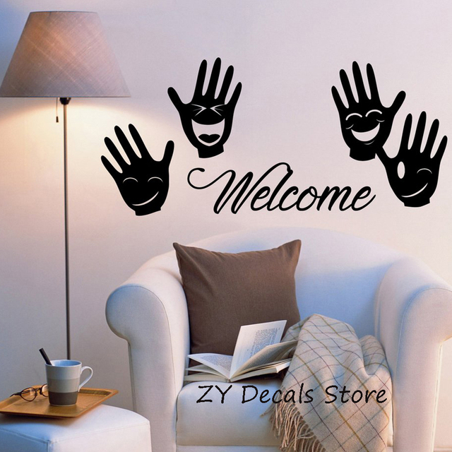 Welcome words wall decal sticker positive letters four palm smile wall stickers hallway decor shop window