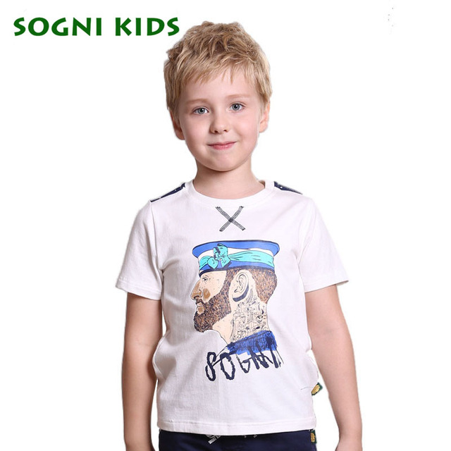SOGNI KIDS Sailor Collar Tshirts Toddler Short Sleeve Print Character Clothes Baby Fashion 2016 2017 Splice Colors Navy T-shirts
