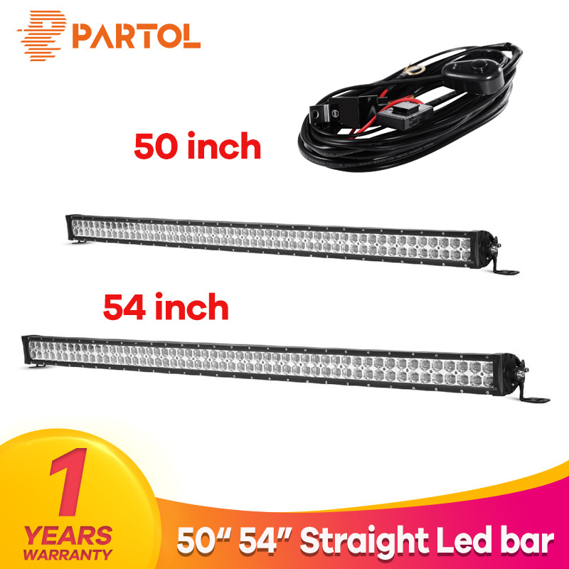 Partol 6D Straight LED Light Bar 50 54 480W 520W Combo Beam Car Work Light Bars Driving Lamp 4x4 Offroad 4WD LED Bar 12V ATV partol 17 inch 180w 4d led light bar work light pod combo beam car atv suv auto truck led bar 4x4 offroad driving lamp 12v 6000k