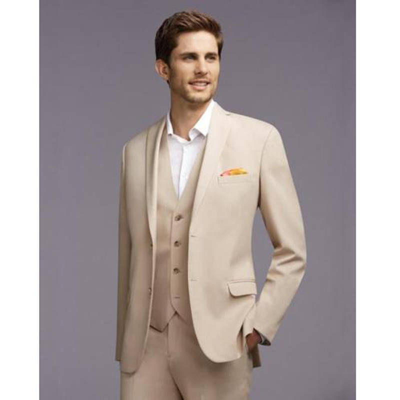 costume mariage homme 2016 new custom made beige 3 piece ternos slim fit suits bridal tuxedos - Costume Mariage Homme 3 Pieces