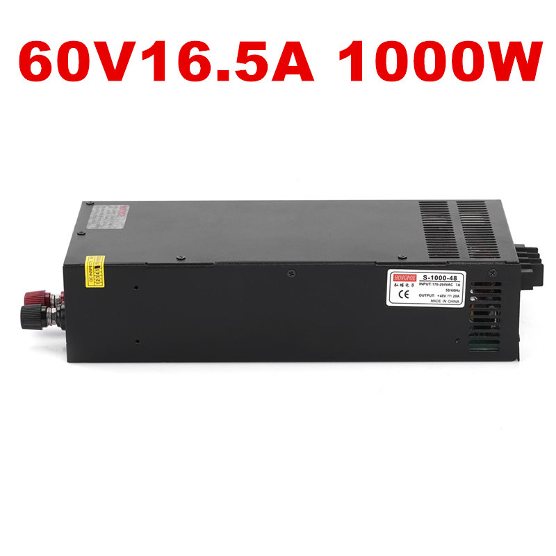 1PCS New 1000W 60V power supply 60V adjustable power 60V 16.5A AC-DC High-Power PSU 1000W S-1000-60 60V power