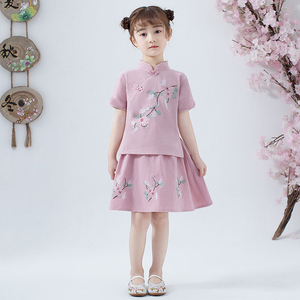Image 5 - Lovely Girls Cheong sam 2PC Chinese Traditional Style Han Fu Baby Retro Dress Children Summer Casual Cotton Linen Dresses