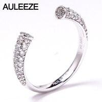 AULEEZE Okrągły Cut Naturalny Diament Otwarty Pierścień 0.62 cttw VS Prawdziwy Diament Pierścionek Platinum PT950 Mecz Zespół Fine Jewelry