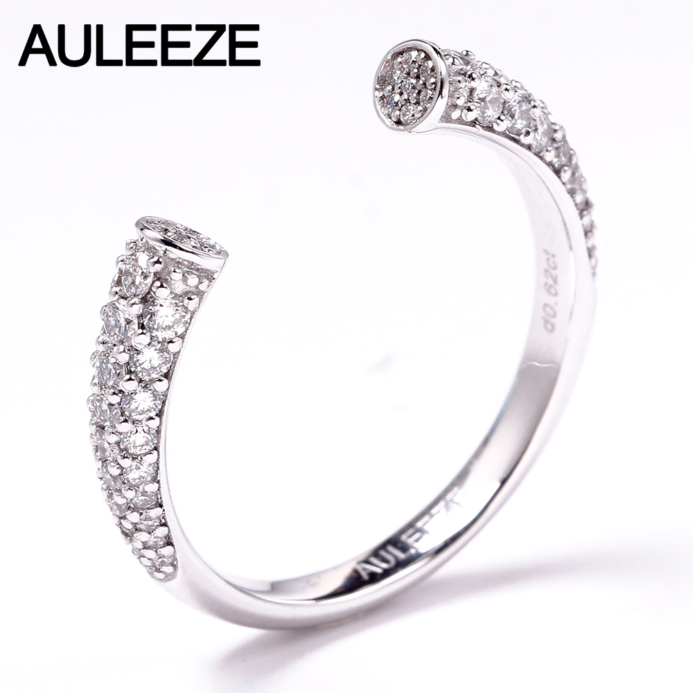 AULEEZE Round Cut Natural Diamond Open Ring 0.62cttw VS Real Diamond Ring Platinum PT950 Match Band Fine Jewelry
