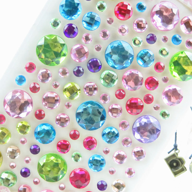1 Foglio Di Cristallo Rotondi Strass Decor Decal Car Styling Accessori Mobile/pc Art Diamante Adesivo Adesivi Sapore Puro E Delicato