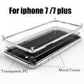 Bumper para iphone 7 metal case para iphone 7 plus de lujo case cubierta de marco de aluminio para el iphone 7 plus casos de parachoques + pc de nuevo cubierta
