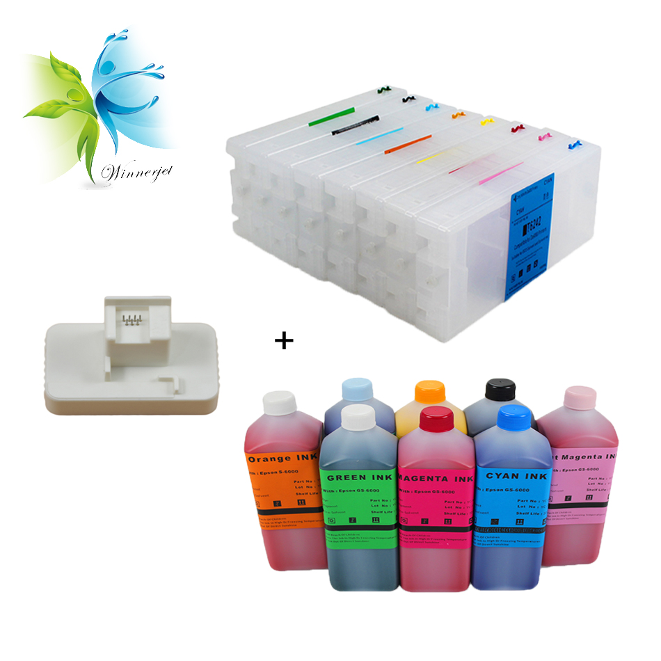 T6421 T6428 8 colors refillable ink cartridge 8 liters eco solvent ink 1 pc chip resetter