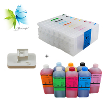 Winnerjet 8 colors refillable ink cartridge 8 liters eco solvent ink 1 pc chip resetter for