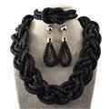 Новые дешевые чёрные бижутерия комплект, ожерелья браслеты капельный кулон серьги