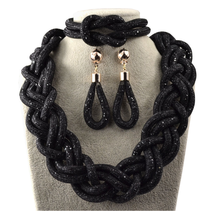 African beads jewelry sets for women black white gray party gold plated crystal necklace earrings bracelet