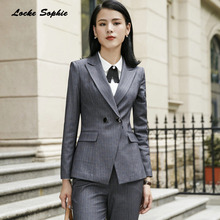 1pcs Womens Plus size Blazers and coats 2019 Spring cotton blend Double-breasted Suits jackets ladies Skinny Blazers Suits coats