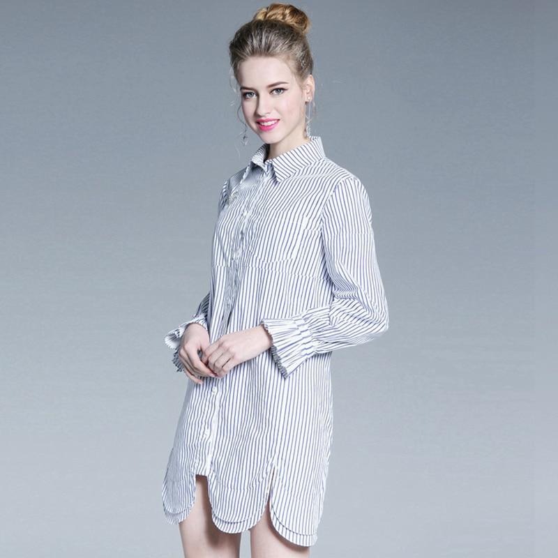 Monopetto Lunghe Blu In Donne Del Bianco ~ Aofuli Vestido Xxxl M Vestito Cotone Asimmetrica A3916 Designer Camicia A Righe Maniche v0mN8Onw