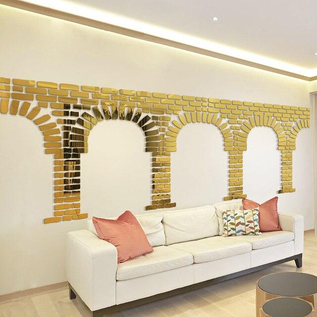 24pcs 3D Mirror Acrylic Wall Sticker Brick Stone DIY Scrapbooking Wall  Decals Stickers Luxury Rustic Styling