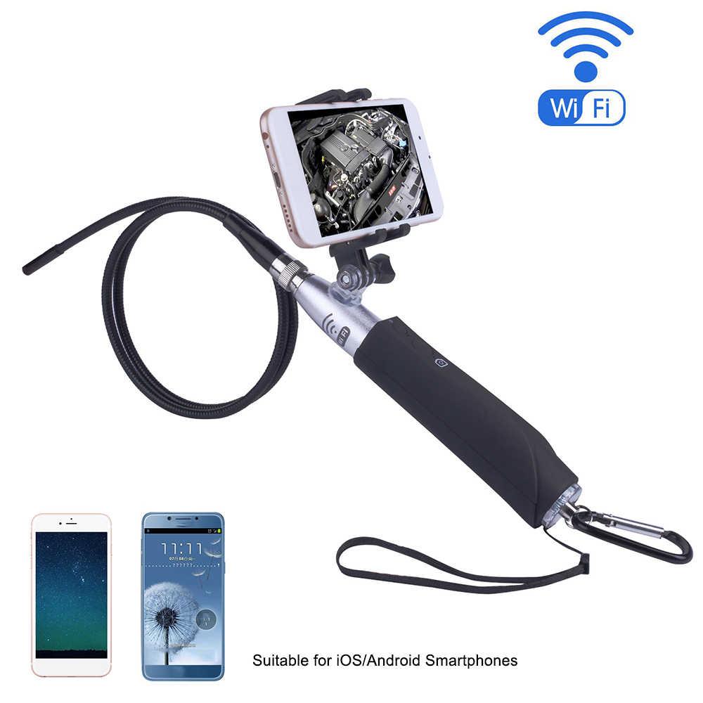 Bezprzewodowy endoskop z uchwytem na telefon 8mm obiektyw HD WiFi wziernik optyczny aparat 8 diod LED IP67 wodoodporny dla iOS Android