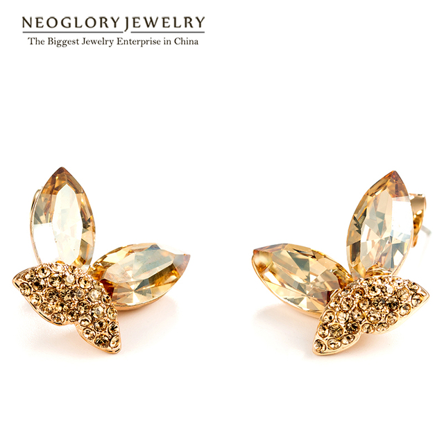Neoglory Austria Crystal Stud Earrings for Women Champagne Gold Plated Rhinestone Butterfly Shaped 2017 New Fashion Gift