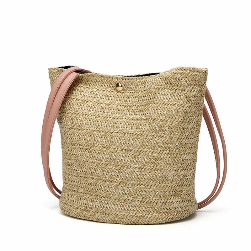 Nova Bolsa de Palha Sacos de Tecido Rattan De Vime Ocasional Boêmio das Mulheres Das Senhoras Moda Praia Soild Cor Crossbody Bag Hot Sale
