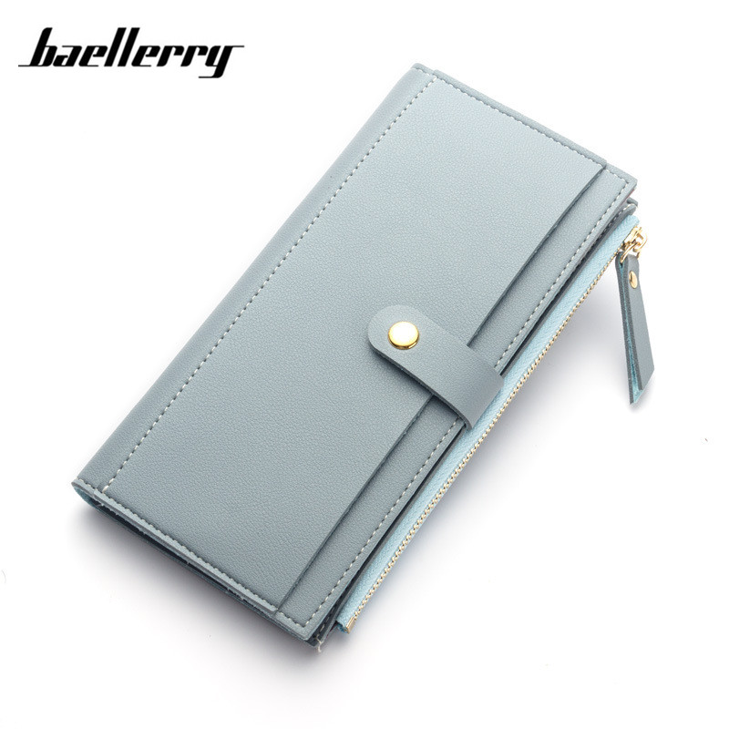 Baellerry 2017 Fashion Dompet Wanita Gaya Korea Zipper   HASP Bifold Card  Holder PU Leather Dompet Wanita Clutch Panjang dompet di Dompet dari Bagasi    Tas ... e0296ec713