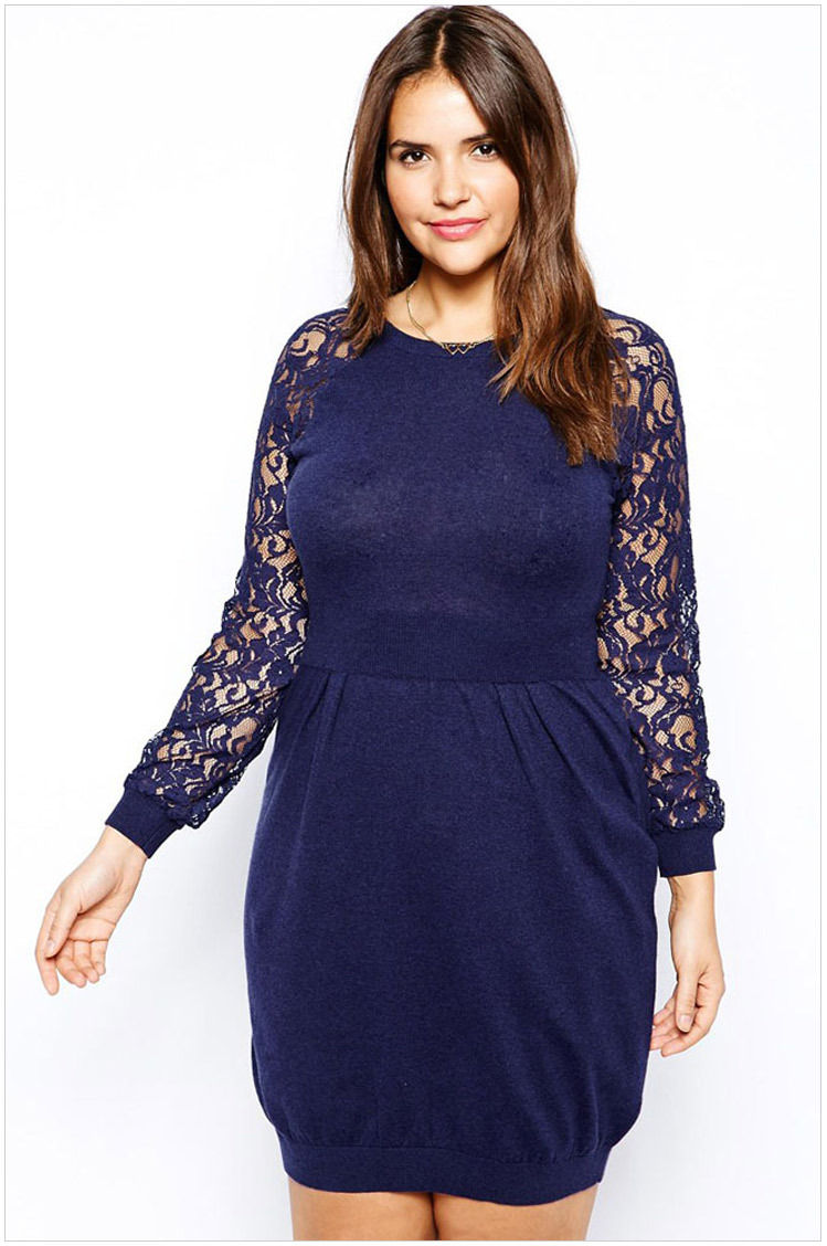 New Arrivals Plus Size 2015 Spring New Women Casual Long Lace Sleeve Patchwork Dresses For