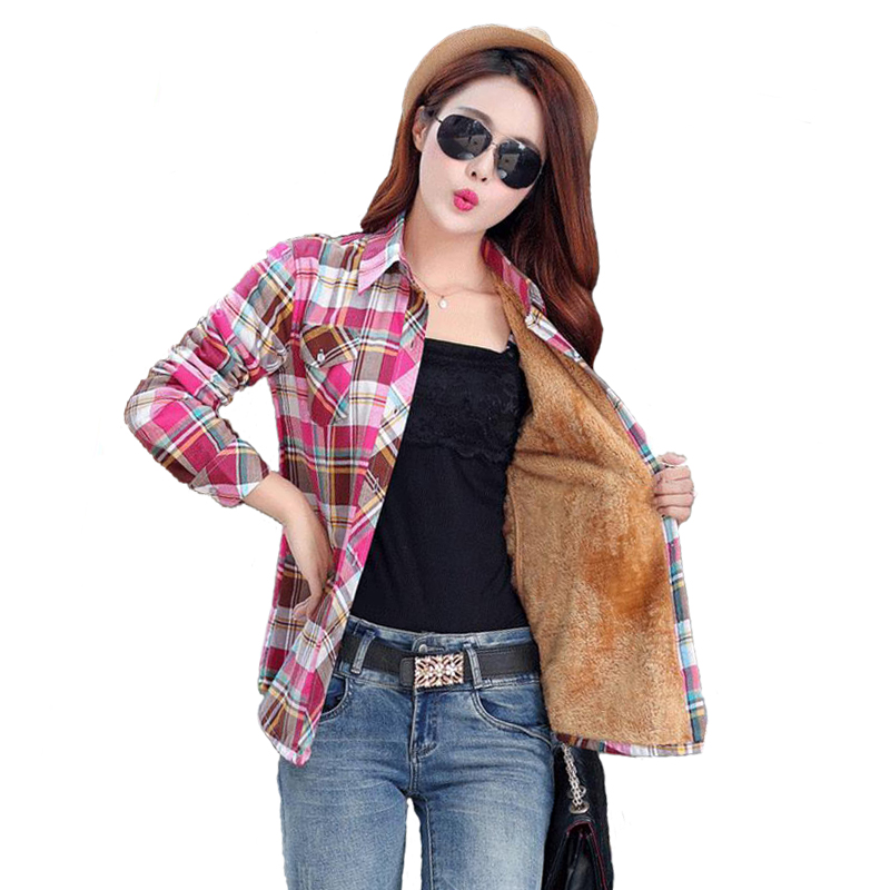 Slim Fit Outerwear Velvet Warm Ladies Ladies Jacket Women Long Sleeve TopWinter Check Female Jacket Blusas Women Cosmetics Fall