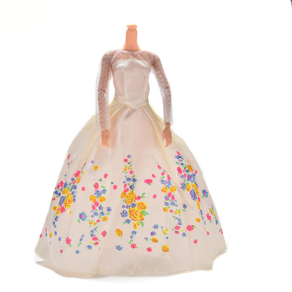 White Wedding Dress 1PCS Handmad Floor Length Flower Print Lace Dress For Barbie Gown Dress For Barbie Doll Clothing