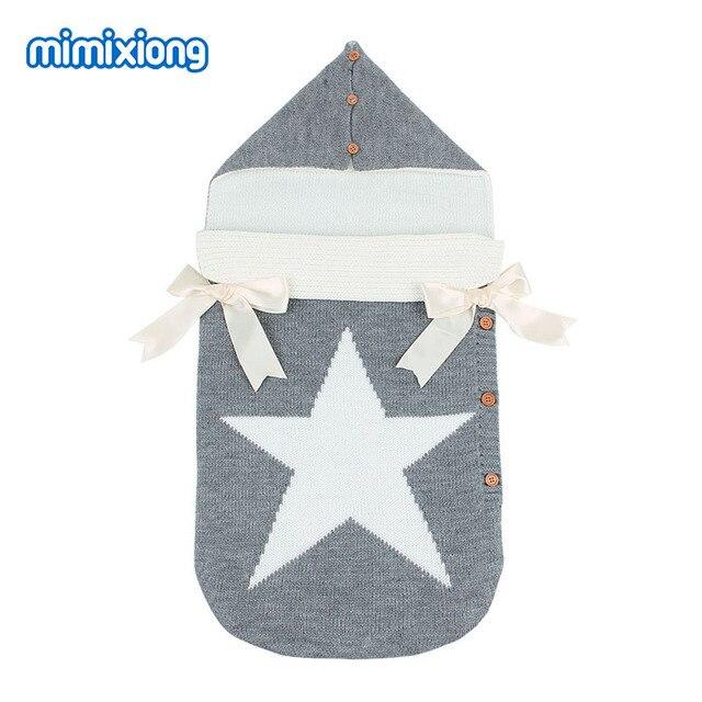 مغلفات لحديثي الولادة خمس نجوم محبوك أكياس النوم الخريف رمادي زر حتى الرضع الطفل قماش للف الرضع أكياس النوم الربيع بطانية