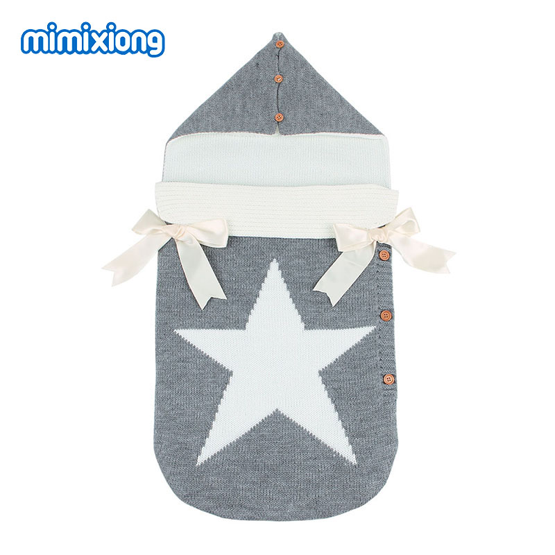 Autumn Envelopes for Newborns Five Star Knitted Sleeping Bags Winter Grey Button Up Infant Baby Swaddle Wrap Sleep Sacks Thermal winter newborn sleeping bags autumn knitted baby stroller swaddle wrap blankets warm infant bebe sleep sack envelopes 0 12months