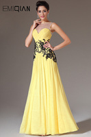 Freeshipping New Yellow Chiffon Sheer Top A Line Illusion Sweetheart Neck Appliques Prom Dress