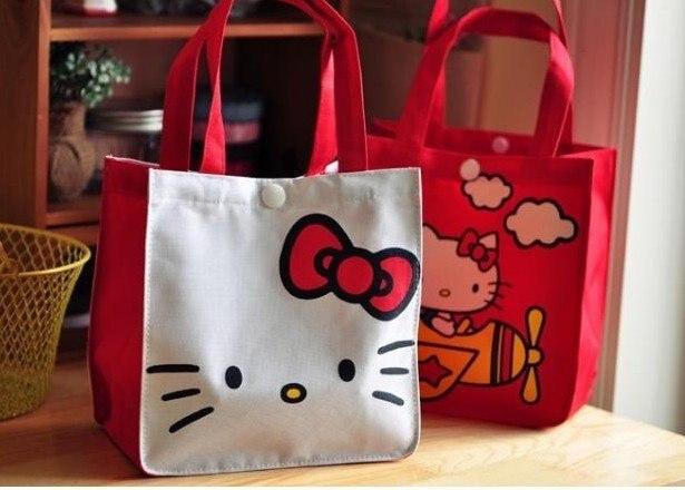 free shipping 20/lot hello kitty bag shopping bag fashion nylon bag cute desigh 4 color