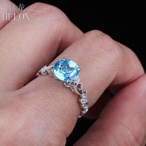 Image 3 - HELON Solid 14K White Gold 7MM Round 100% Genuine Blue Topaz & Pave Natural Diamonds Filigree Engagement Wedding Art Deco Ring