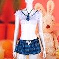 Sexy Lingerie Conjunto Uniforme Escolar Xadrez Quente Meninas Topo Colheita e Mini Saia Atraente Exótico Erótico Trajes Sexy Com Laço vestuário