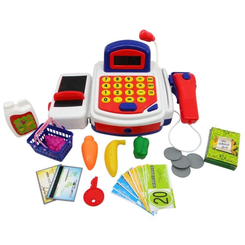 Pretend Play Electronic Math Education Cash Register Toy Realistic Actions Sounds With Mic Talkies Baby Kids