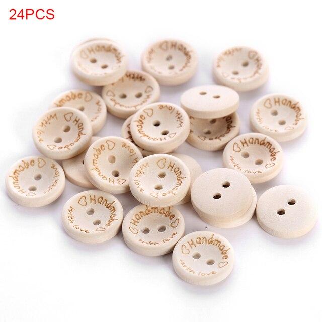 24 יח'\סט אהבת לב DIY כפתורי לייזר חריטת תפירת אביזרי מעורב כפתורי עץ טבעי צבע
