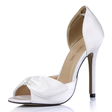 2017 New Ivory Satin Sexy Wedding Party Shoes Women Peep Toe Stiletto Super High Heels Bowknot Lady Pumps Zapatos Mujer 0640C-l1 цены онлайн