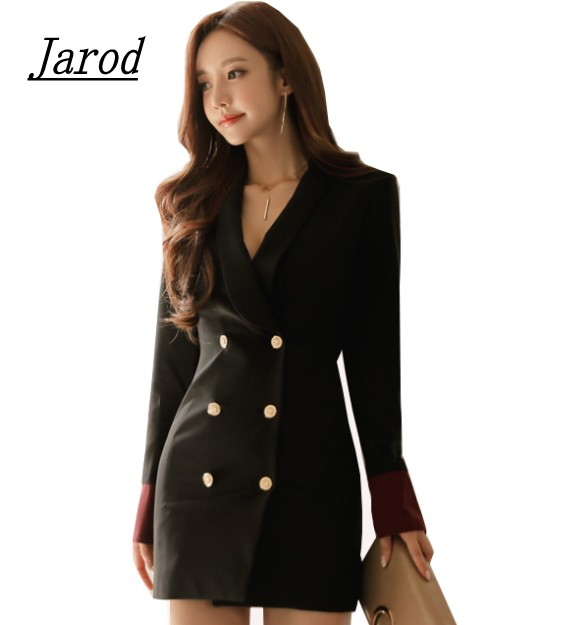 OL double breasted long suit solid femme Autumn Cuff with Buttons slim ladies Women coat jacket casual coat