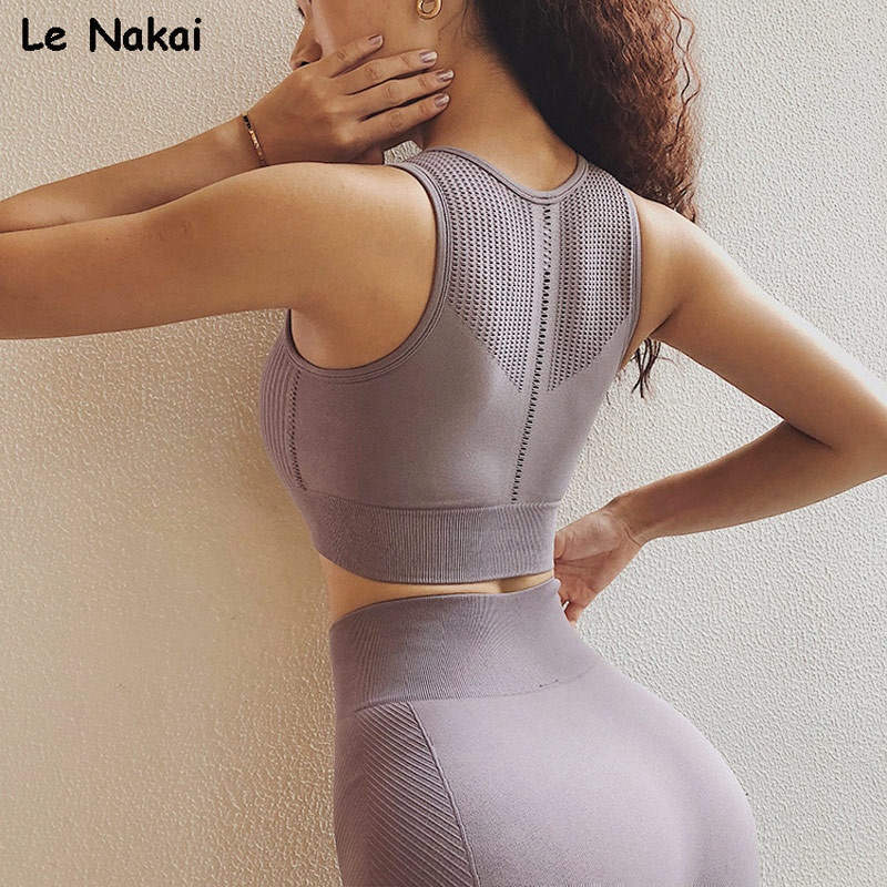 Le Nakai Womens Purple Seamless Sports Bra Tops High Impact Mesh Yoga Crop Bra Push Up Fitness Running Bras Padded Gym Top
