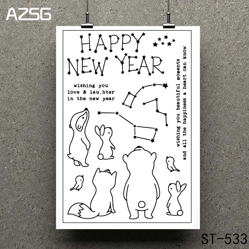AZSG Happy new year Clear Stamps seal for DIY Scrapbooking Card Making Photo Album Decoration Supplies in Stamps from Home Garden