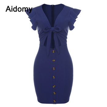 Women Summer Dresses Sexy Cut Out Bow Tie Bodycon Mini Dress Front Buttons Ruffled Sleeveless Evening Party Club Dress Female