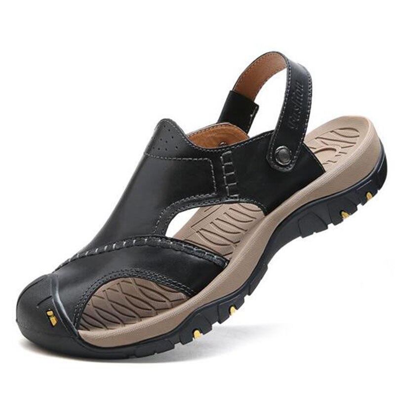 Летние пляжные Лидер продаж Для мужчин из натуральной кожи открытый носок классический Босоножки, шлепанцы, не скользит Туфли на плоской пл...