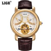 LIGE Мужчина часы Люксовый Бренд Мода Повседневная Tourbillon часы Мужчины Золотые Наручные Часы автоматические Механические Часы 5 Цвет Стильный