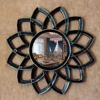 78cm Luxury Wrought Iron Hollow Wall Sunflower Flower 3D Stereo Mirror Crafts Wall Decoration Mural Living Room Decoration R1499