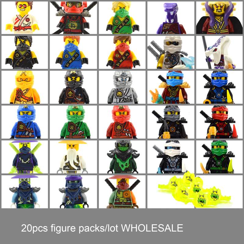 20pcs/lot Kapau Rai Kai Jay Cole Zane Nya Lloyd Ninja Wholesale Master Wu Building Blocks Bricks Toys DC0071