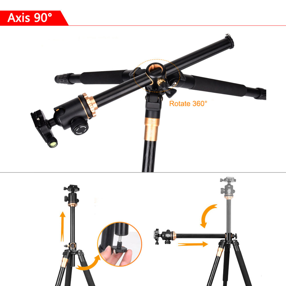 Image 3 - SAMTIAN Professional Portable Camera Tripod 61 inch Portable Travel Trip System Horizontal Tripod for Canon Nikon Sony DSLR SLR-in Tripods from Consumer Electronics