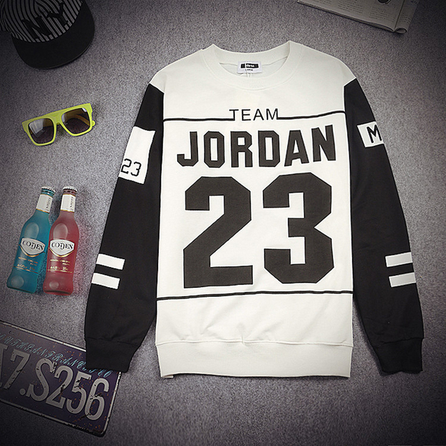 Spring New Stitching Harajuku Men's Winter Sweatshirt Printed Letter Jordan 23 Printing Black and White Men's Hip-Hop Hoodies