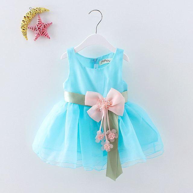 c08d8ade3631c BibiCola Girls Tutu Dresses 2017 Newborn Summer Dress Baby Girl Princess Dress  small Child Sleeveless Flower Blue Formal Clothes