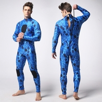 Men One Piece 3mm Blue Camo Diving Suit Wetsuits Spearfishing Swimming Surfing Suit
