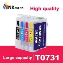 INKARENA T0731 принтера чернильный картридж для принтера Epson 73 T0731N 73N картриджи T30 TX203 TX510F TX210 CX5900 T40W TX205 TX209 TX409 комплект
