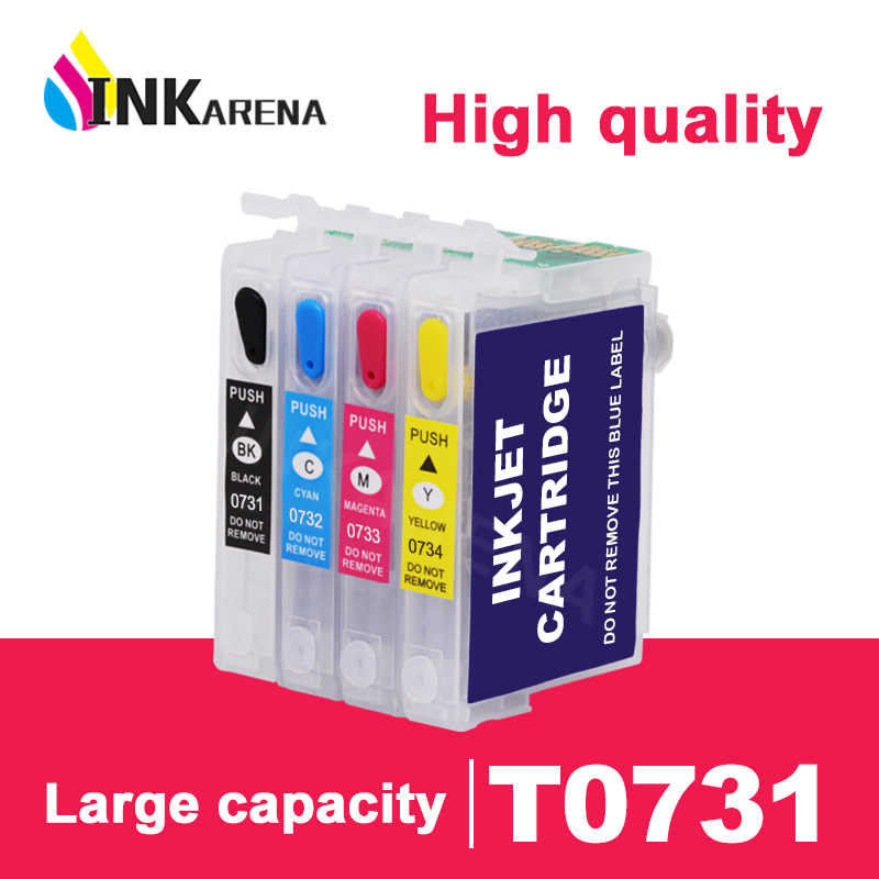 Inkarena T0731 Tinta Printer Cartridge untuk Epson 73 T0731N 73N Cartridge T30 TX203 TX510F TX210 CX5900 T40W TX205 TX209 TX409 kit